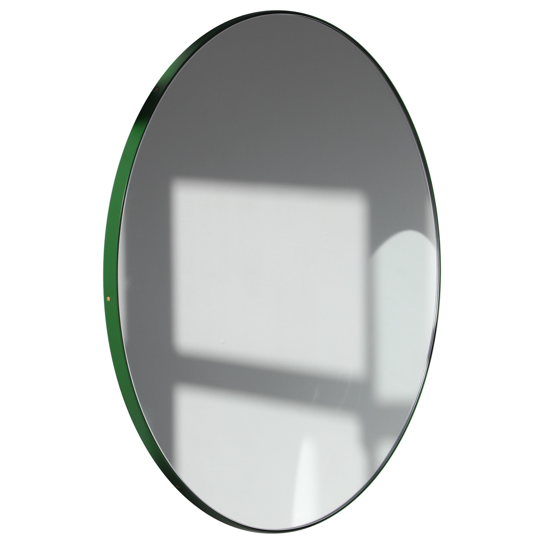Orbis™ Round Bespoke Modern Mirror with Green Frame - Medium