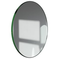 Orbis Circular Mirror with Blue Frame, Medium Size