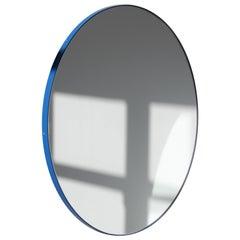 Orbis Circular Modern Bespoke Mirror with Blue Frame, Medium