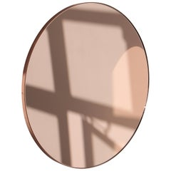 Orbis Circular Rose Gold Tinted Mirror with Copper Frame, Medium Size