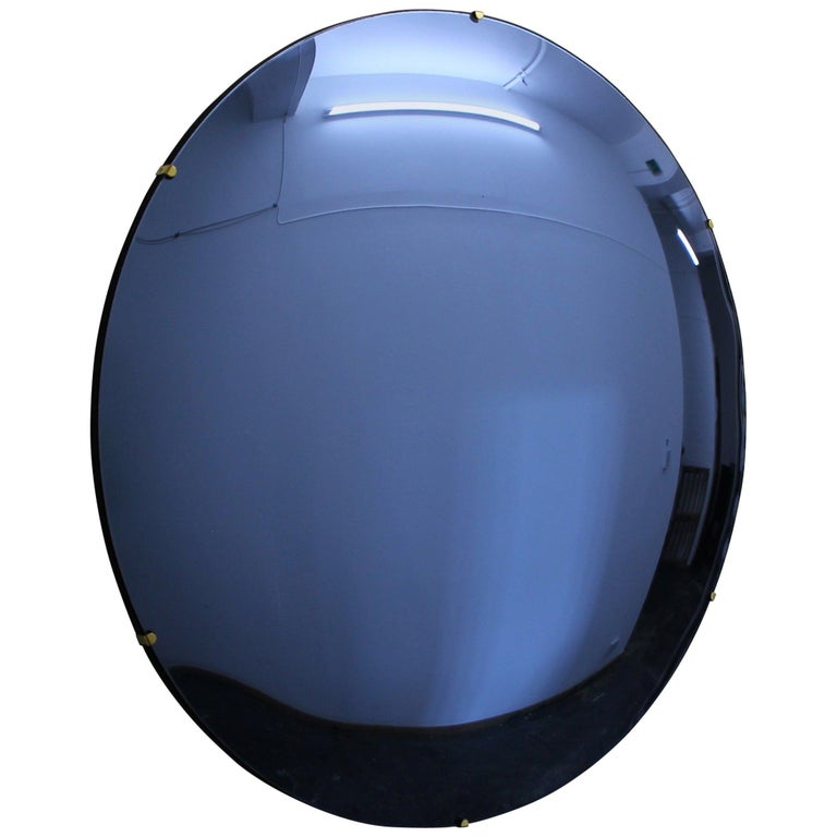 Orbis Convex Blue Tinted Round Frameless Mirror with Brass Clips, Large For Sale