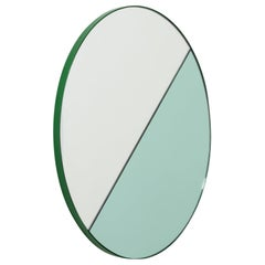 Orbis Dualis Mixed 'Green + Silver' Round Mirror with Green Frame, Medium