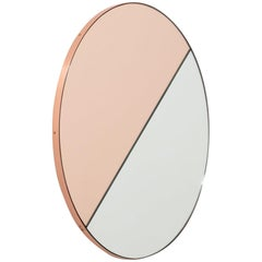 Orbis Dualis Mixed 'Rose Gold and Silver' Round Mirror with Copper Frame, Medium