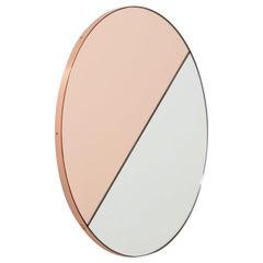 Orbis Dualis Mixed 'Rose Gold + Silver' Round Mirror Copper Frame, Oversized