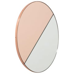 Orbis Dualis Mixed 'Rose Gold + Silver' Round Mirror with Copper Frame, Large