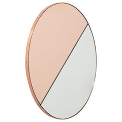 Orbis Dualis Mixed 'Rose Gold + Silver' Round Mirror with Copper Frame, Regular