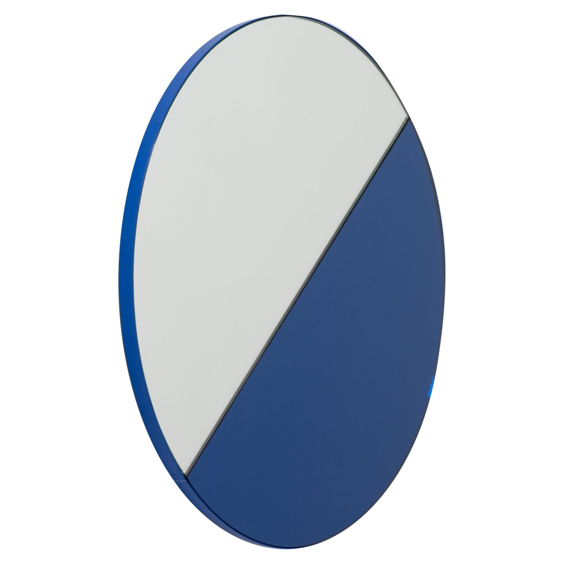 Orbis Dualis Mixed Tint 'Blue + Silver' Round Mirror with Blue Frame, Medium