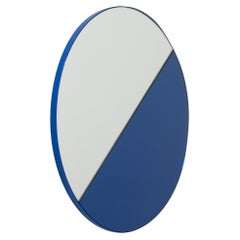Orbis Dualis Mixed Tint 'Blue + Silver' Round Mirror with Blue Frame, Medium
