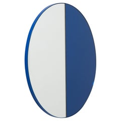 Orbis Dualis Mixed Tint 'Blue + Silver' Round Mirror with Blue Frame Oversized