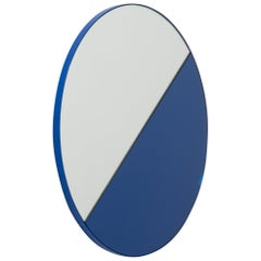 Orbis Dualis Mixed Tint 'Blue + Silver' Round Mirror with Blue Frame, Regular