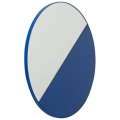 Orbis Dualis Mixed Tint 'Blue + Silver' Round Mirror with Blue Frame Small