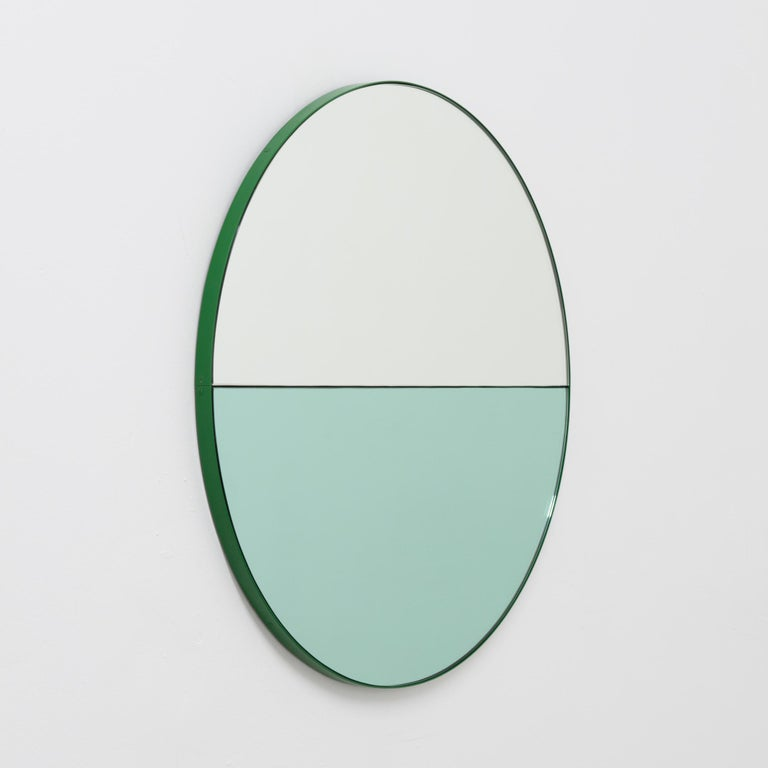 British Orbis Dualis Mixed 'Green and Silver' Round Mirror with Green Frame, Regular For Sale
