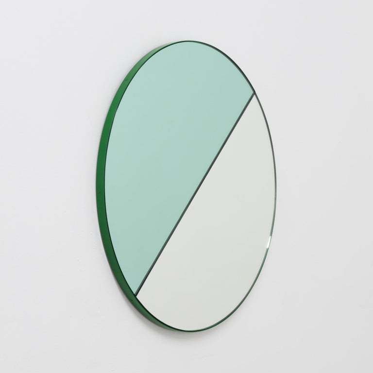 Orbis Dualis Mixed 'Green and Silver' Round Mirror with Green Frame, Regular In New Condition For Sale In London, GB