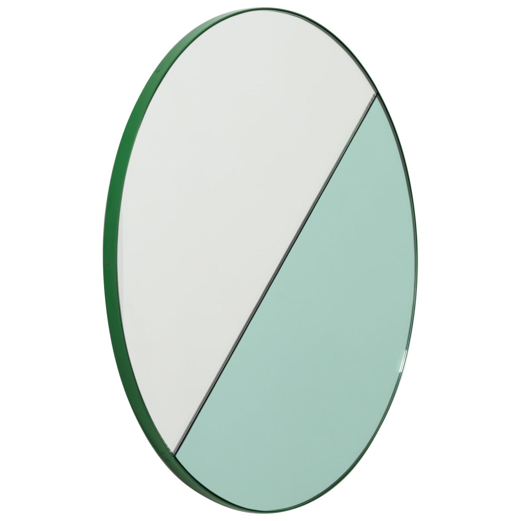 Orbis Dualis Mixed 'Green and Silver' Round Mirror with Green Frame, Regular