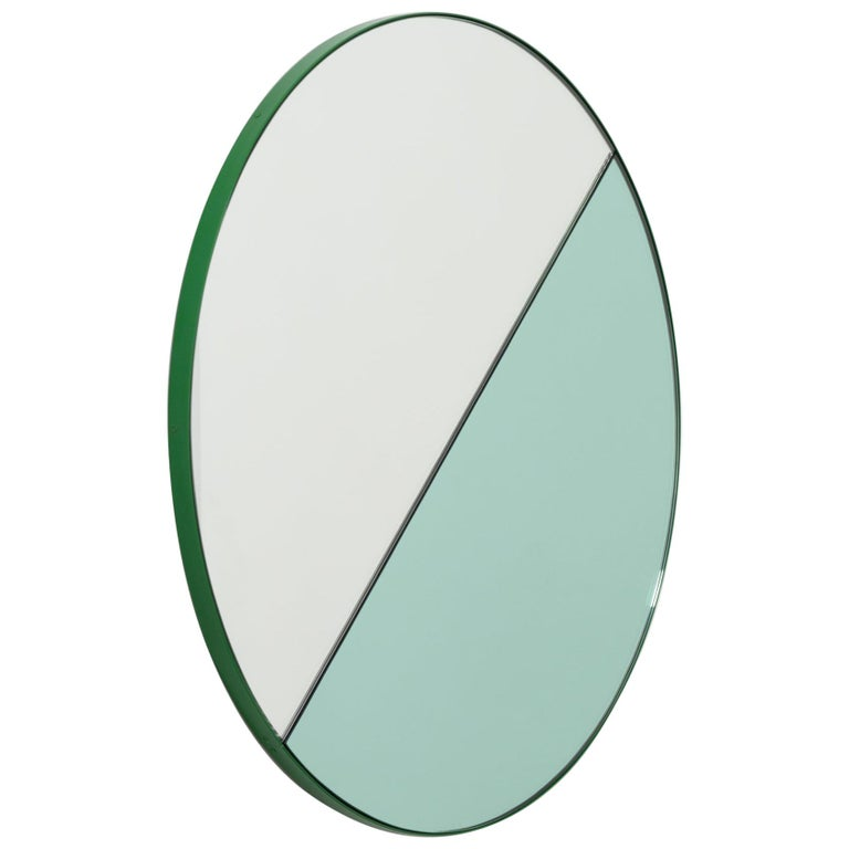 Orbis Dualis Mixed 'Green and Silver' Round Mirror with Green Frame, Regular For Sale