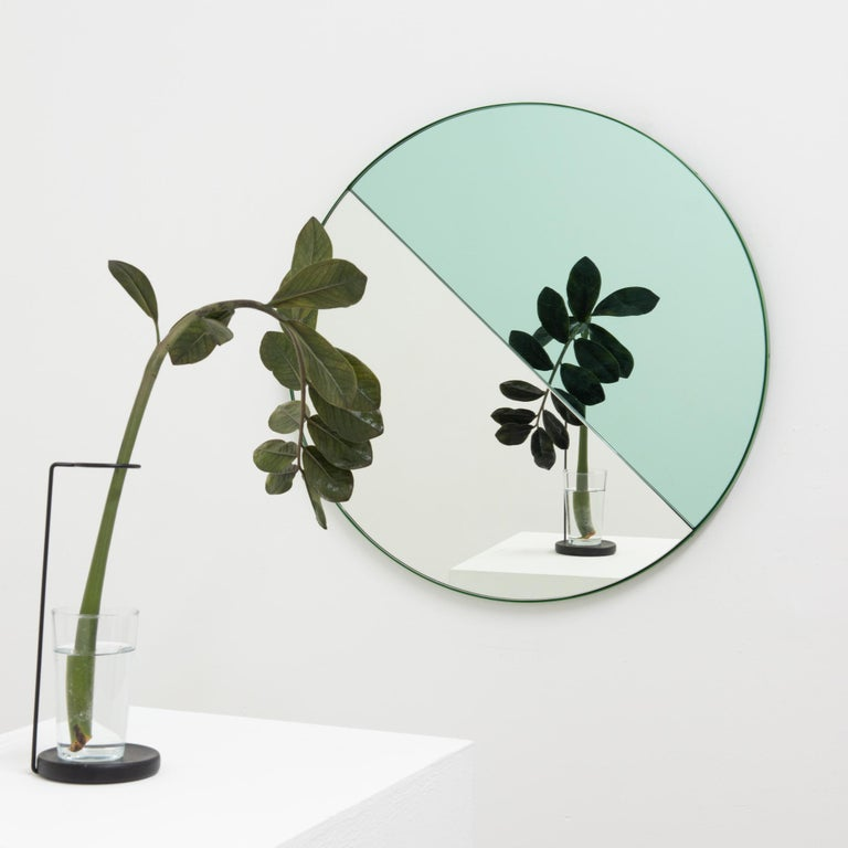 Orbis Dualis Mixed 'Green + Silver' Round Mirror with Green Frame, Small For Sale 5