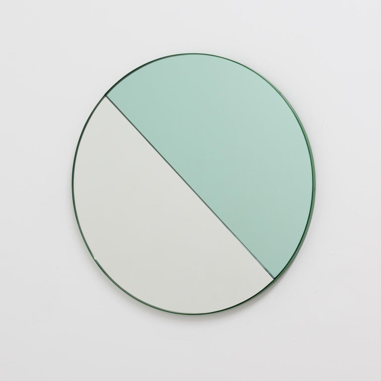 Orbis Dualis Mixed 'Green + Silver' Round Mirror with Green Frame, Small For Sale 7