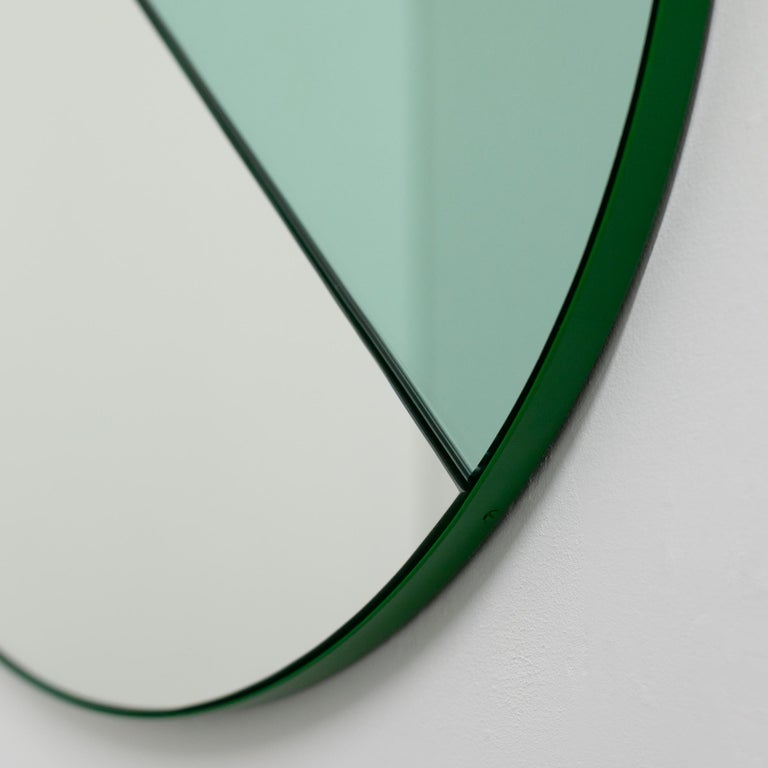 Contemporary Orbis Dualis Mixed 'Green + Silver' Round Mirror with Green Frame, Small For Sale
