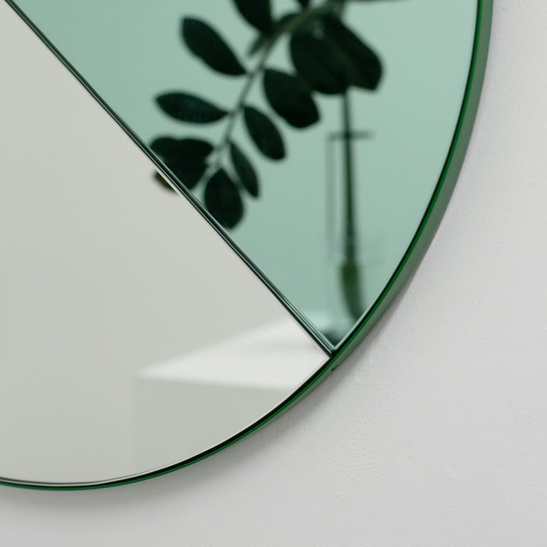 Orbis Dualis Mixed 'Green + Silver' Round Mirror with Green Frame, Small For Sale 1