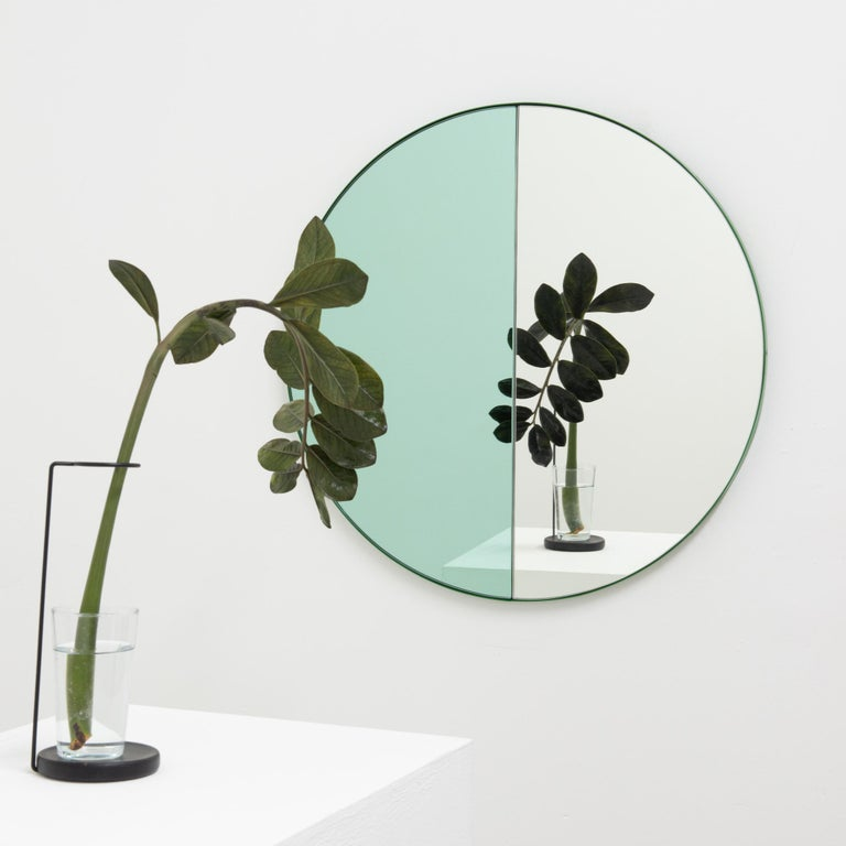 Orbis Dualis Mixed 'Green + Silver' Round Mirror with Green Frame, Small For Sale 2