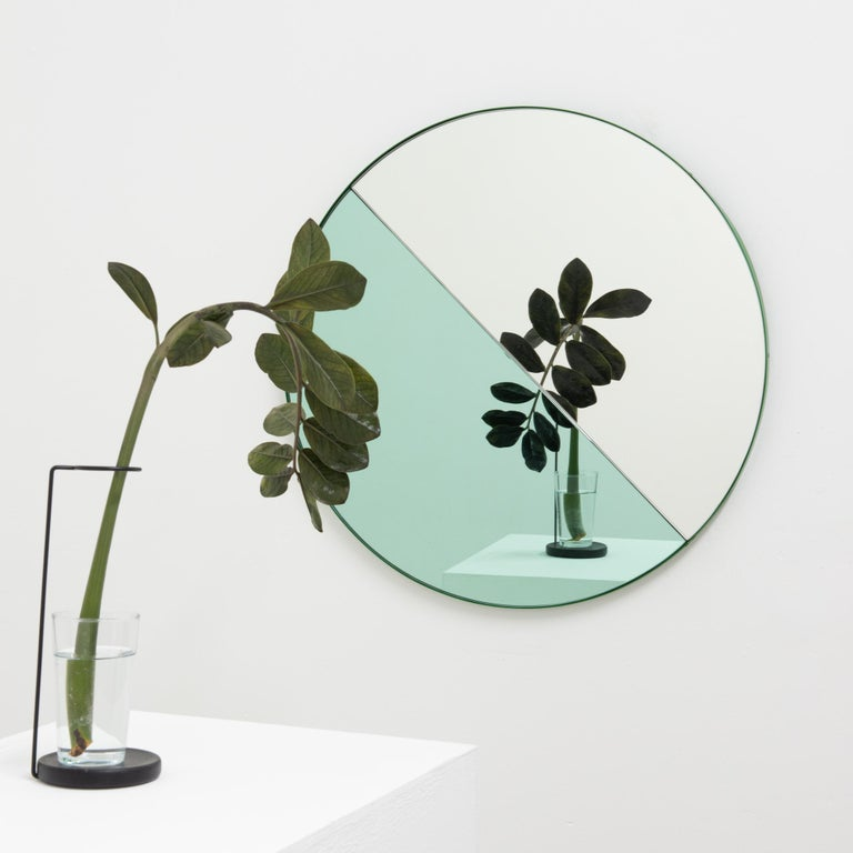 Orbis Dualis Mixed 'Green + Silver' Round Mirror with Green Frame, Small For Sale 3