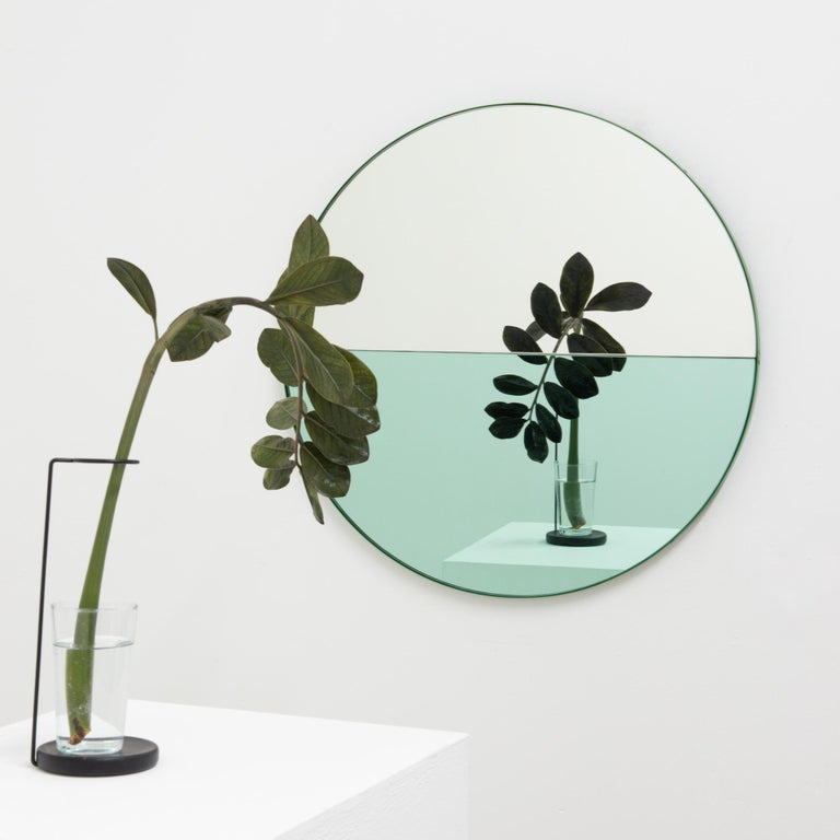 Orbis Dualis Mixed 'Green + Silver' Round Mirror with Green Frame, Small For Sale 4