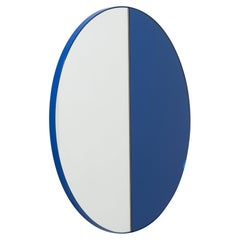 Orbis Dualis Mixed Tint 'Blue and Silver' Round Mirror with Blue Frame, Large