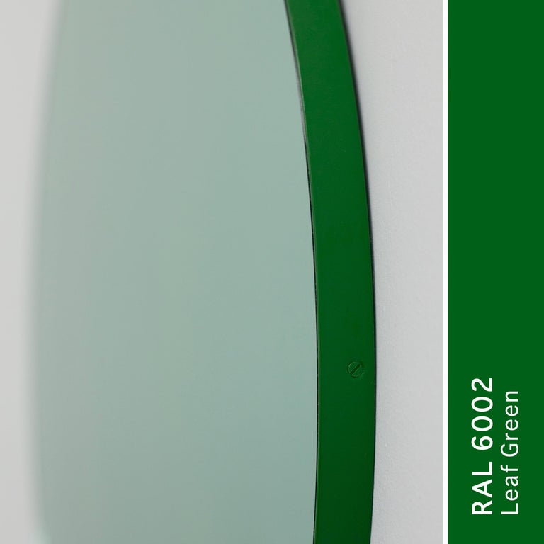 Powder-Coated Orbis Green Tinted Handcrafted Round Mirror with Green Frame, Regular For Sale
