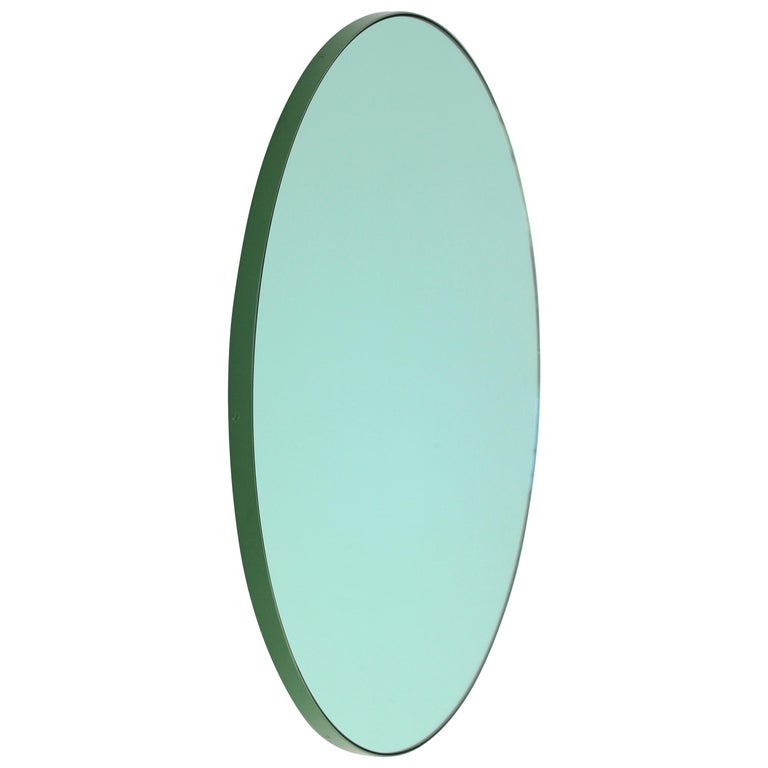 Orbis Green Tinted Handcrafted Round Mirror with Green Frame, Regular For Sale