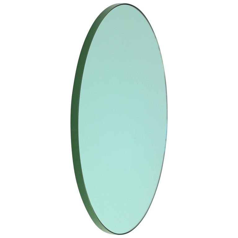 Orbis Green Tinted Modern Round Mirror with Green Frame, Small For Sale
