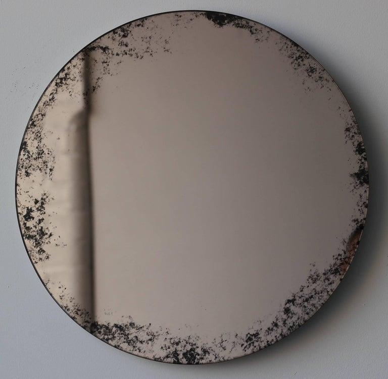 Organic Modern Orbis Round Mirror Bronze Tinted with Black Antiqued Finish dia. 40cm / 14.8