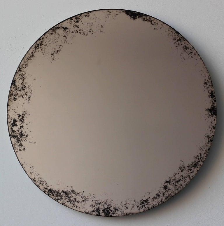 Indian Orbis Round Mirror Bronze Tinted with Black Antiqued Finish dia. 40cm / 14.8