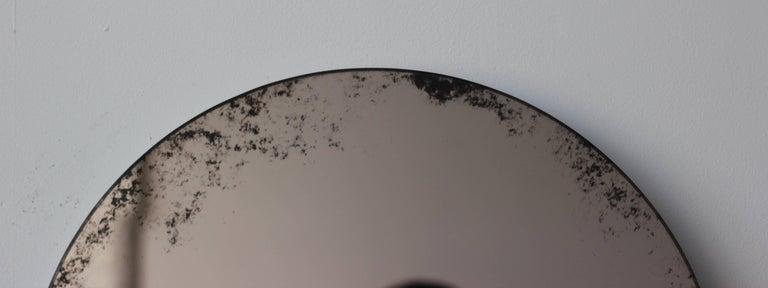 Contemporary Orbis Round Mirror Bronze Tinted with Black Antiqued Finish dia. 40cm / 14.8