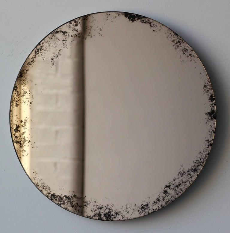 Orbis Round Mirror Bronze Tinted with Black Antiqued Finish dia. 40cm / 14.8