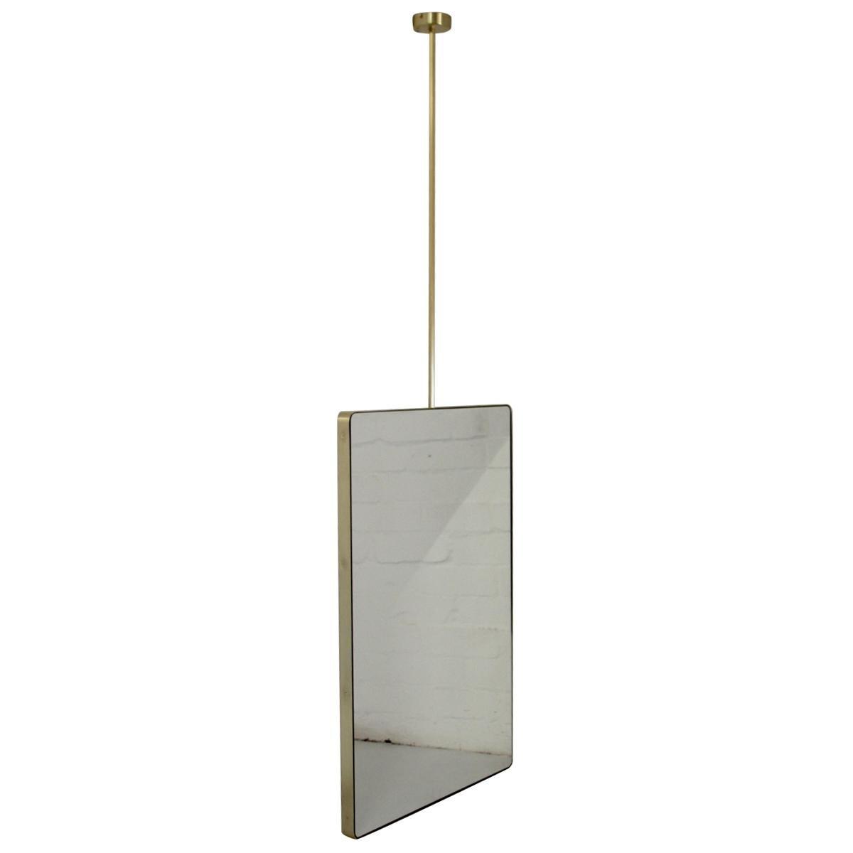 Quadris™ Suspended Rectangular Bathroom Mirror with a Brass Frame