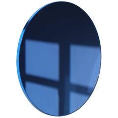Orbis Round Blue Tinted Contemporary Bespoke Mirror with Blue Frame, Regular