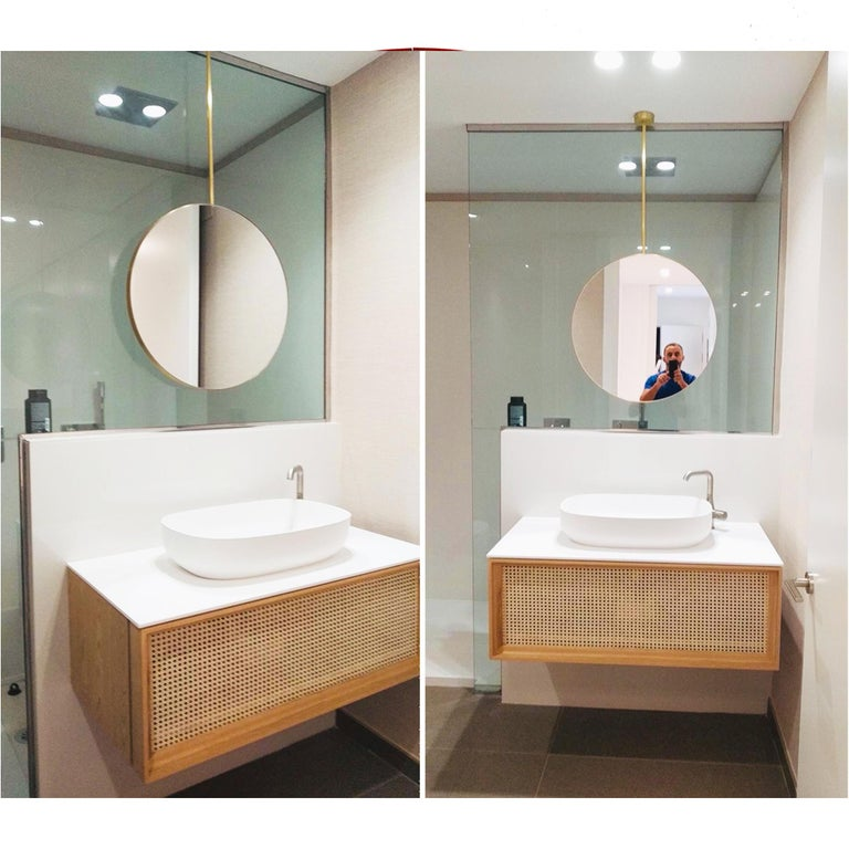 Orbis Round Double Sided Suspended Bathroom Mirror with a Brass Frame For Sale 6