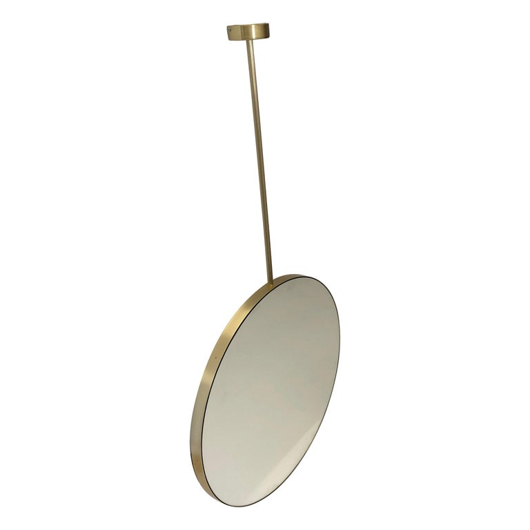 Orbis Round Double Sided Suspended Bathroom Mirror with a Brass Frame For Sale
