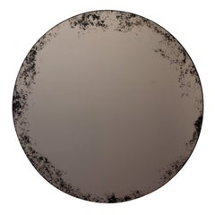 Orbis Round Mirror Bronze Tinted with Black Antiqued Finish dia. 40cm / 14.8""