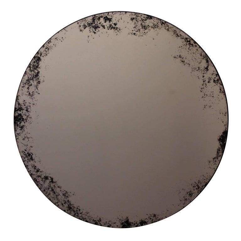 "Orbis Round Mirror Bronze Tinted with Black Antiqued Finish dia. 40cm / 14.8"" For Sale"