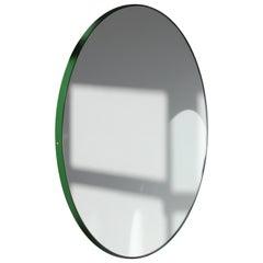 Orbis Round Modern Minimalist Mirror with Green Frame - Regular