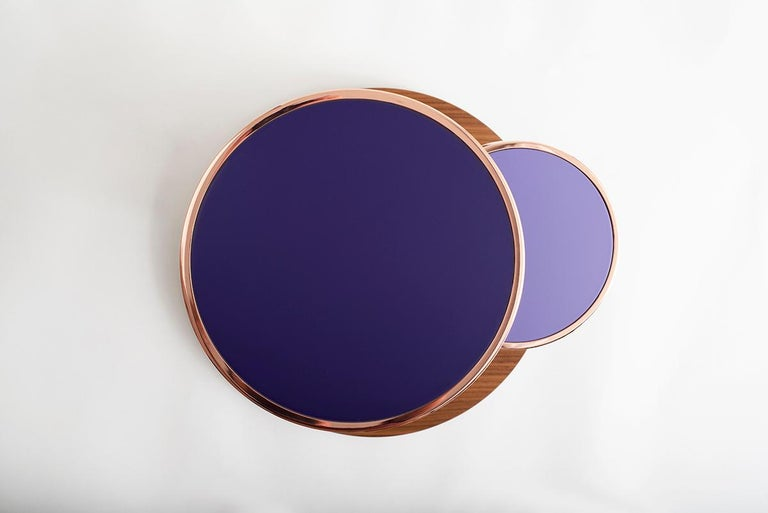 Modern OrBis, Side Table with Colored Round Tops and Brass or Copper Rings For Sale