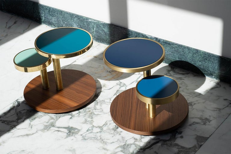 Italian OrBis, Side Table with Colored Round Tops and Brass or Copper Rings For Sale