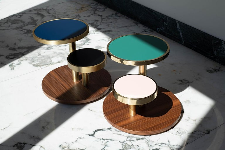 Brushed OrBis, Side Table with Colored Round Tops and Brass or Copper Rings For Sale