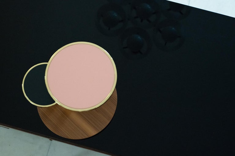 OrBis, Side Table with Colored Round Tops and Brass or Copper Rings In New Condition For Sale In Tradate, IT