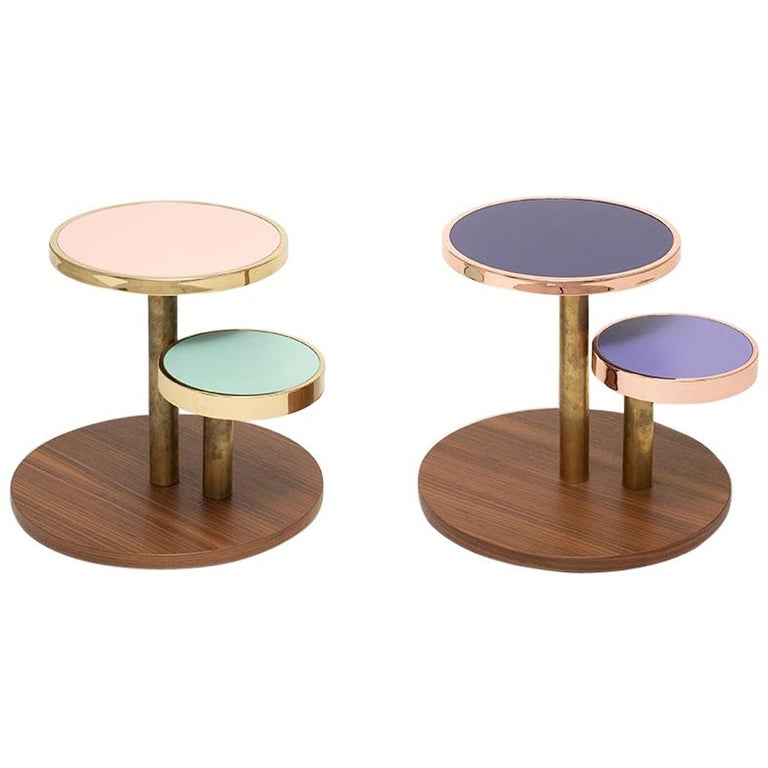 OrBis, Side Table with Colored Round Tops and Brass or Copper Rings For Sale