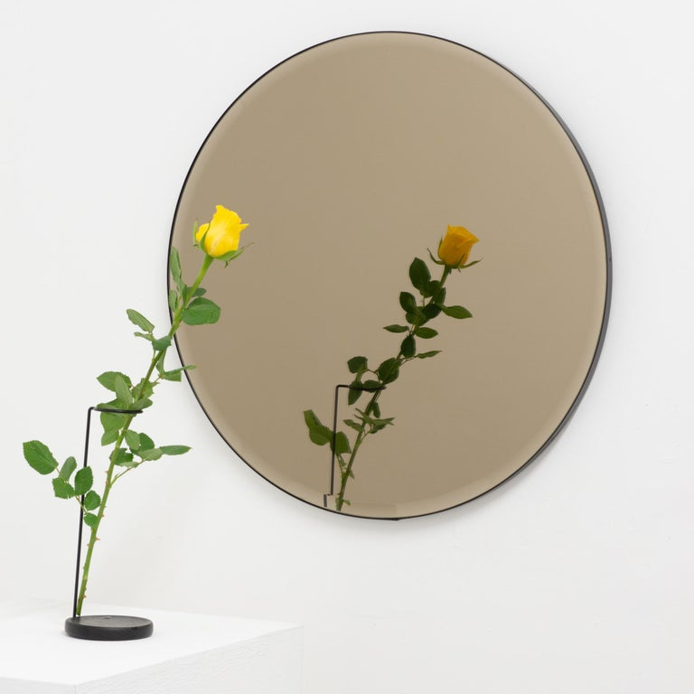 British Orbis™  Beveled Bronze Tinted Round Elegant Mirror with a Black Frame - Large For Sale