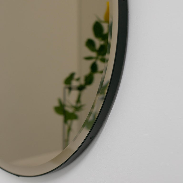 Contemporary Orbis™  Beveled Bronze Tinted Round Elegant Mirror with a Black Frame - Large For Sale