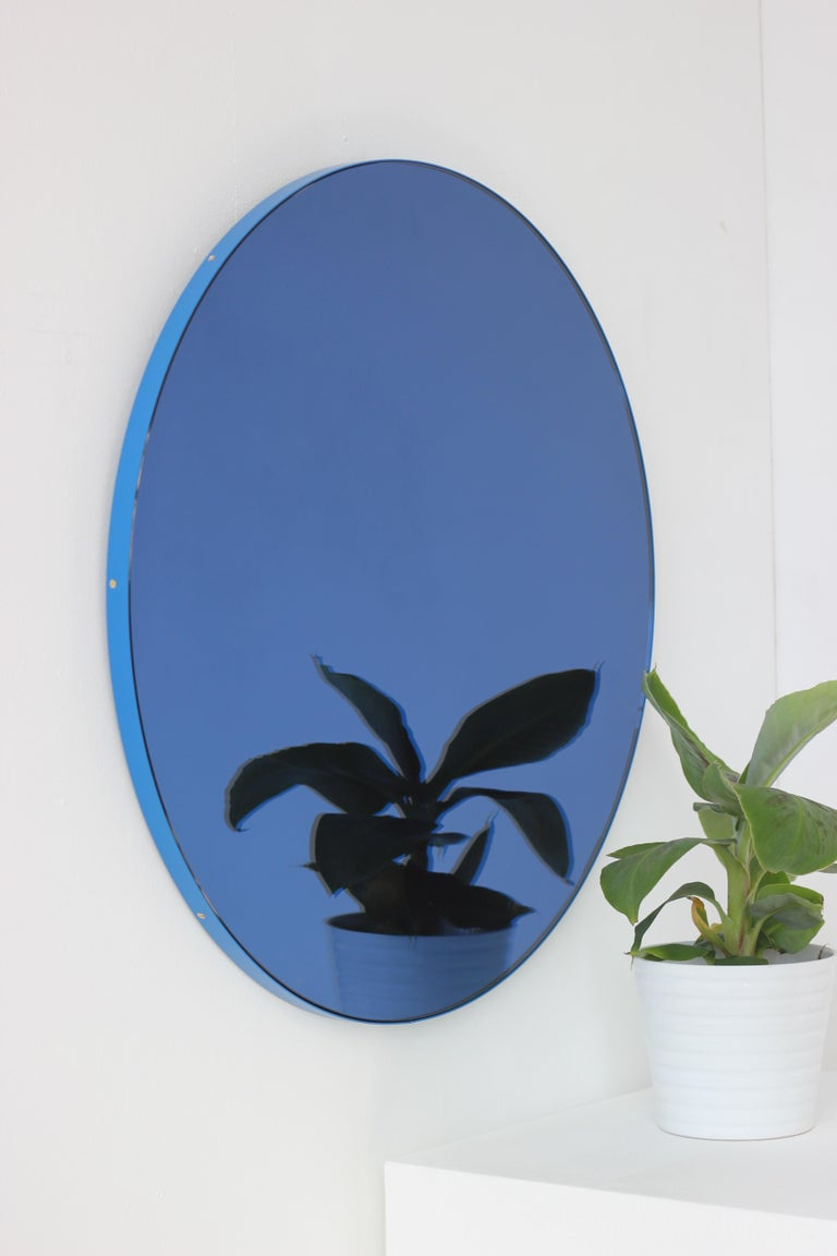 Orbis Circular Mirror with Blue Frame and Blue Tint, Medium Size For Sale 1