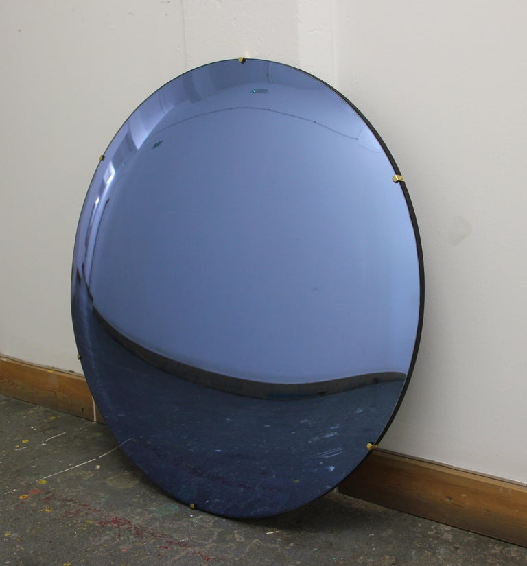 Organic Modern Orbis Convex Blue Tinted Round Frameless Mirror with Brass Clips, Large For Sale